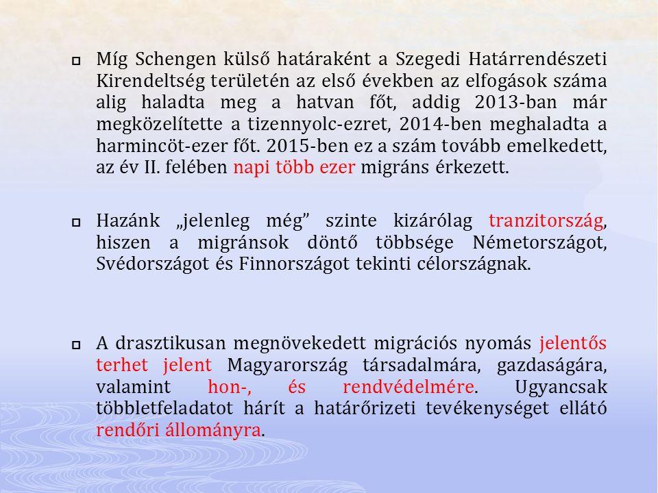  Míg Schengen külső határaként a Szegedi Határrendészeti Kirendeltség területén az első években az elfogások száma alig haladta meg a hatvan főt, add