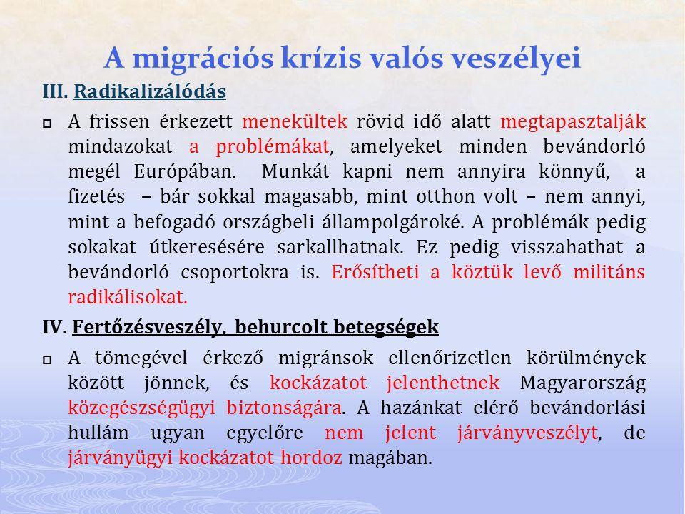 A migrációs krízis valós veszélyei III. Radikalizálódás  A frissen érkezett menekültek rövid idő alatt megtapasztalják mindazokat a problémákat, amel