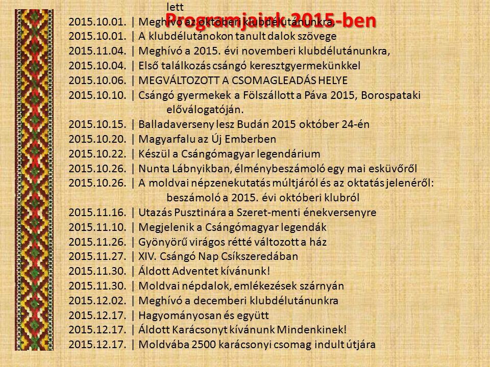 Programjaink 2015-ben 2015.01.05. | Áldás és agapé 2015.01.05.
