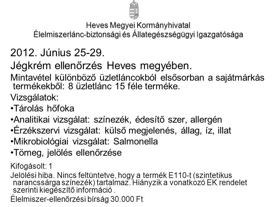 2012. Június 25-29. Jégkrém ellenőrzés Heves megyében.