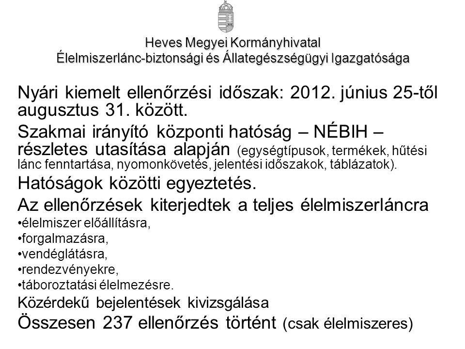 Nyári kiemelt ellenőrzési időszak: 2012. június 25-től augusztus 31.