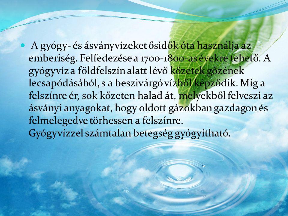 Konyhasós gyógyvíz, Na és kloridionokat tartalmaz: (Alföldi fürdők, Parád, Sárvár, Pestszenterzsébet, Cserkeszőlő, Debrecen, Eger, Gyopáros, Nyíregyháza sóstó, Tamási).