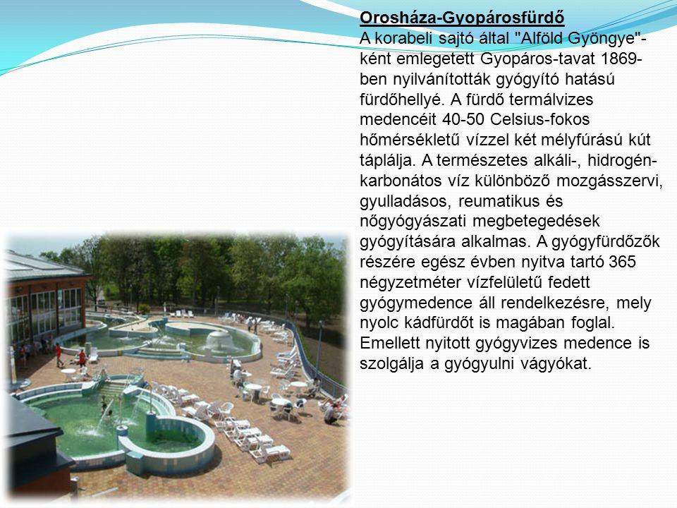 Orosháza-Gyopárosfürdő A korabeli sajtó által Alföld Gyöngye - ként emlegetett Gyopáros-tavat 1869- ben nyilvánították gyógyító hatású fürdőhellyé.