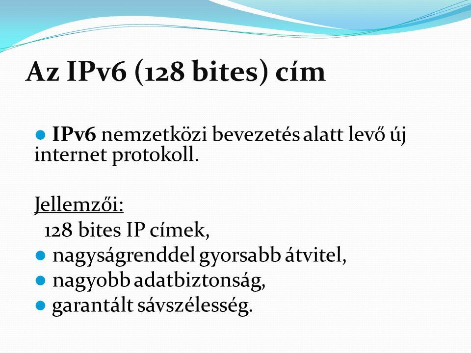 Az IPv6 (128 bites) cím IPv6 nemzetközi bevezetés alatt levő új internet protokoll.