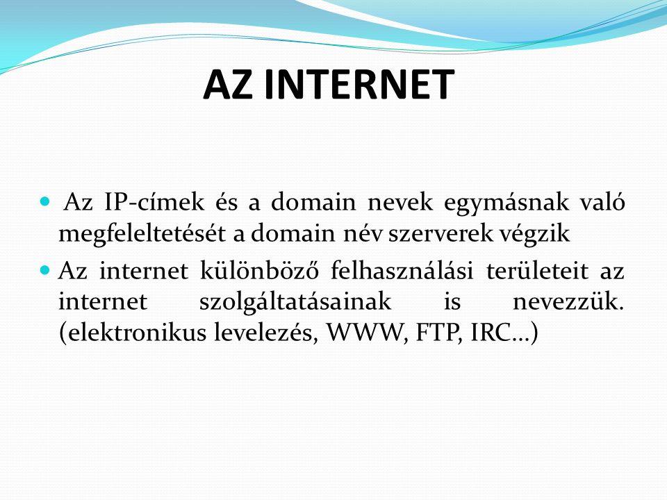 AZ INTERNET Az IP-címek és a domain nevek egymásnak való megfeleltetését a domain név szerverek végzik Az internet különböző felhasználási területeit az internet szolgáltatásainak is nevezzük.