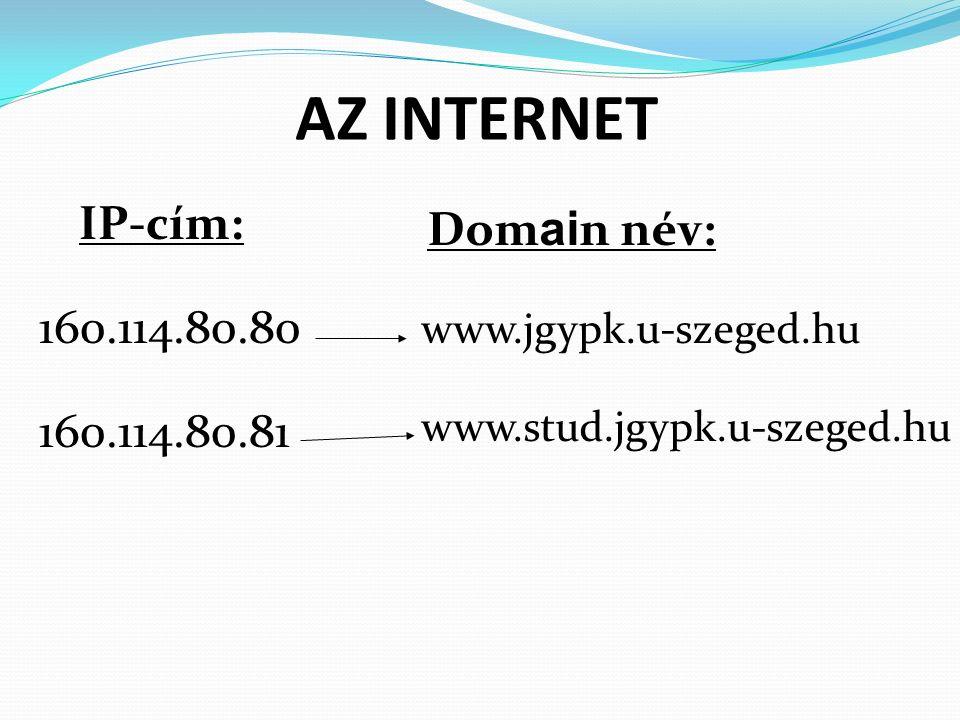 AZ INTERNET IP-cím: 160.114.80.80 160.114.80.81 Dom ai n név: www.jgypk.u-szeged.hu www.stud.jgypk.u-szeged.hu