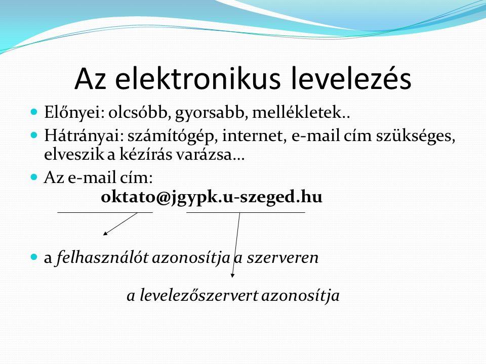 Az elektronikus levelezés Előnyei: olcsóbb, gyorsabb, mellékletek..
