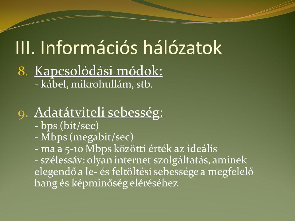 III. Információs hálózatok 8. Kapcsolódási módok: - kábel, mikrohullám, stb.