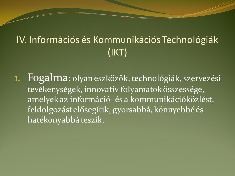 IV. Információs és Kommunikációs Technológiák (IKT) 1.
