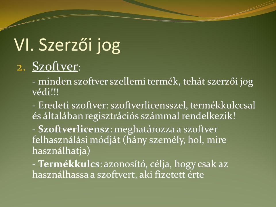 VI. Szerzői jog 2. Szoftver : - minden szoftver szellemi termék, tehát szerzői jog védi!!.