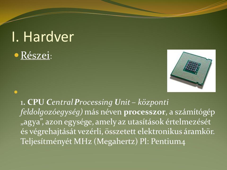 I. Hardver Részei : 1.