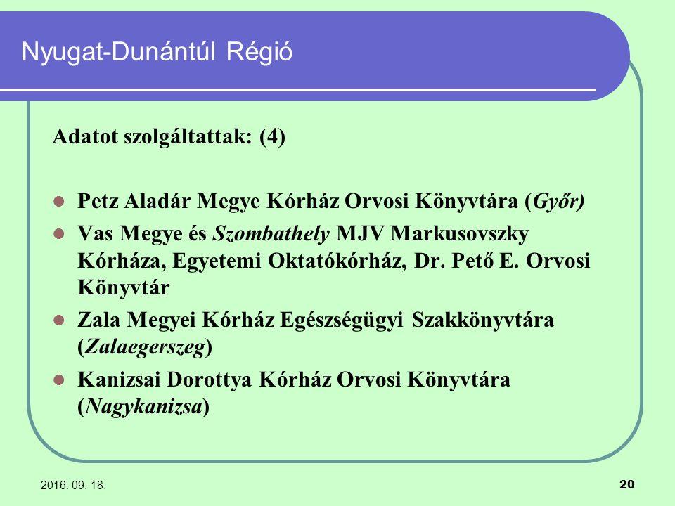 2016. 09. 18. 20 Nyugat-Dunántúl Régió Adatot szolgáltattak: (4) Petz Aladár Megye Kórház Orvosi Könyvtára (Győr) Vas Megye és Szombathely MJV Markuso