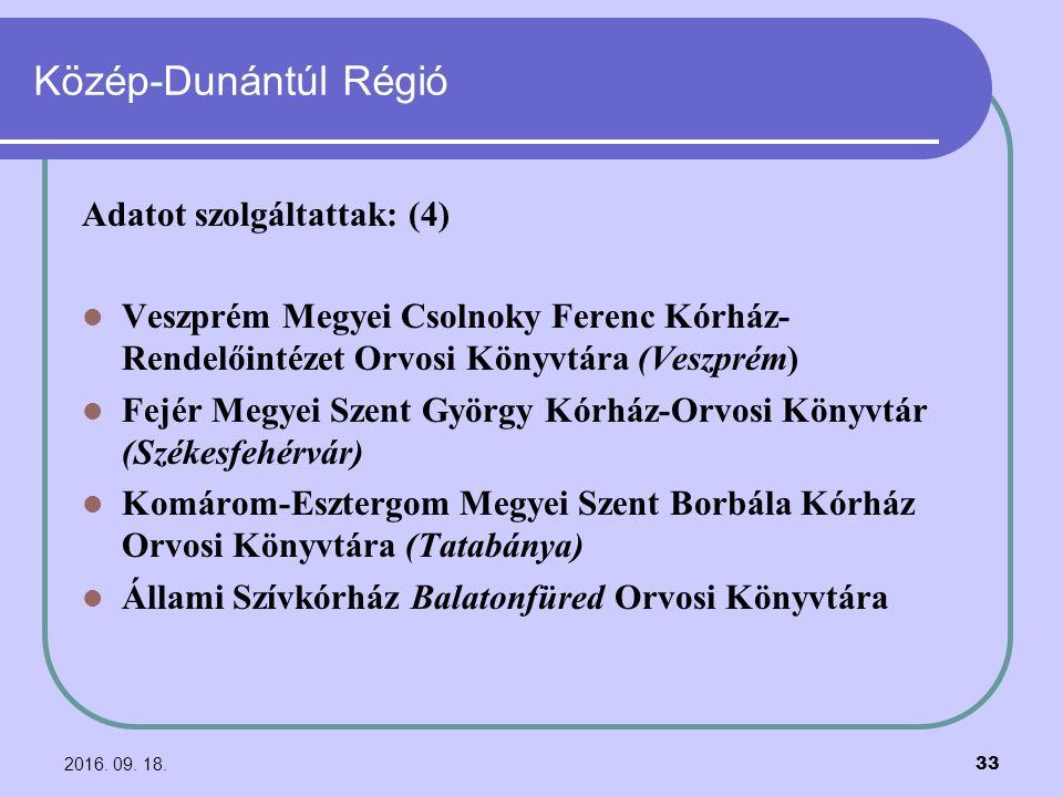 2016. 09. 18. 33 Közép-Dunántúl Régió Adatot szolgáltattak: (4) Veszprém Megyei Csolnoky Ferenc Kórház- Rendelőintézet Orvosi Könyvtára (Veszprém) Fej