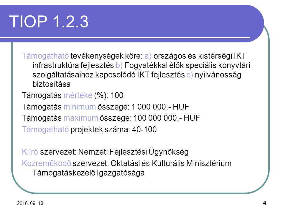 2016. 09. 18. 4 TIOP 1.2.3 Támogatható tevékenységek köre: a) országos és kistérségi IKT infrastruktúra fejlesztés b) Fogyatékkal élők speciális könyv