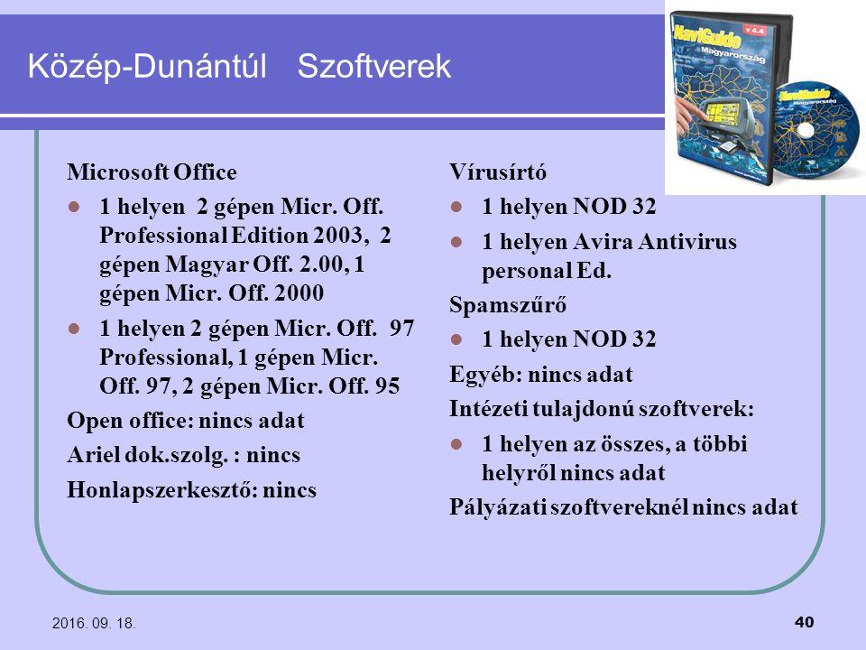 2016. 09. 18. 40 Közép-Dunántúl Szoftverek Microsoft Office 1 helyen 2 gépen Micr. Off. Professional Edition 2003, 2 gépen Magyar Off. 2.00, 1 gépen M