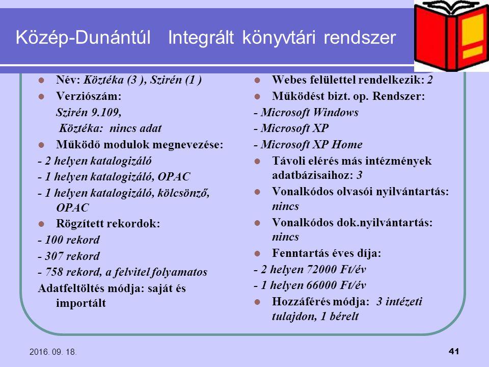 2016. 09. 18. 41 Közép-Dunántúl Integrált könyvtári rendszer Név: Köztéka (3 ), Szirén (1 ) Verziószám: Szirén 9.109, Köztéka: nincs adat Működő modul