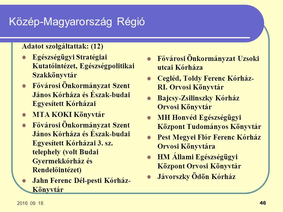 2016. 09. 18. 46 Közép-Magyarország Régió Adatot szolgáltattak: (12) Egészségügyi Stratégiai Kutatóintézet, Egészségpolitikai Szakkönyvtár Fővárosi Ön