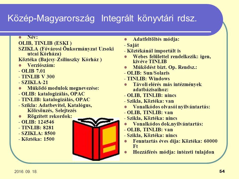 2016. 09. 18. 54 Közép-Magyarország Integrált könyvtári rdsz. Név: OLIB, TINLIB (ESKI ) SZIKLA (Fővárosi Önkormányzat Uzsoki utcai Kórháza) Köztéka (B