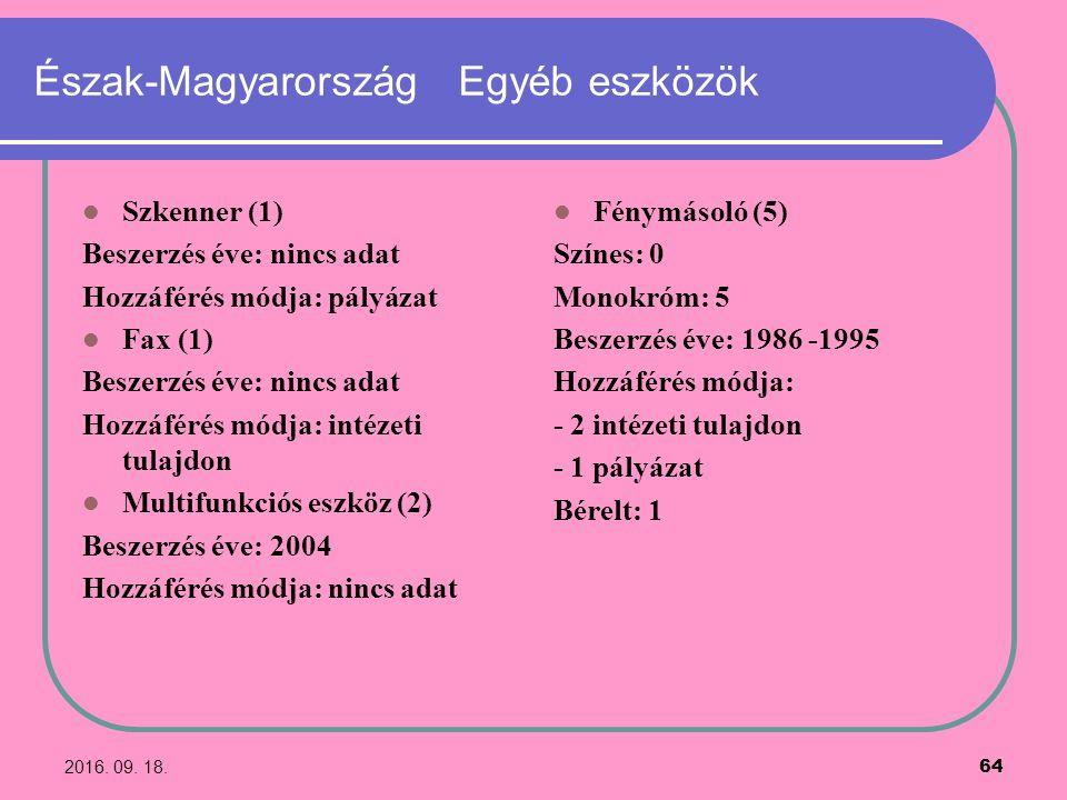 2016. 09. 18. 64 Észak-Magyarország Egyéb eszközök Szkenner (1) Beszerzés éve: nincs adat Hozzáférés módja: pályázat Fax (1) Beszerzés éve: nincs adat