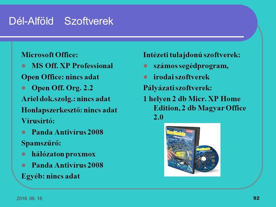 2016. 09. 18. 92 Dél-Alföld Szoftverek Microsoft Office: MS Off. XP Professional Open Office: nincs adat Open Off. Org. 2.2 Ariel dok.szolg.: nincs ad