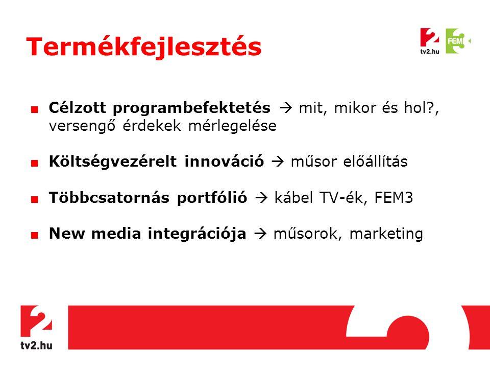 Termékfejlesztés ■ Célzott programbefektetés  mit, mikor és hol?, versengő érdekek mérlegelése ■ Költségvezérelt innováció  műsor előállítás ■ Többcsatornás portfólió  kábel TV-ék, FEM3 ■ New media integrációja  műsorok, marketing