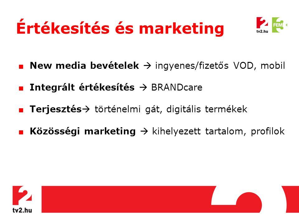 Értékesítés és marketing ■ New media bevételek  ingyenes/fizetős VOD, mobil ■ Integrált értékesítés  BRANDcare ■ Terjesztés  történelmi gát, digitális termékek ■ Közösségi marketing  kihelyezett tartalom, profilok