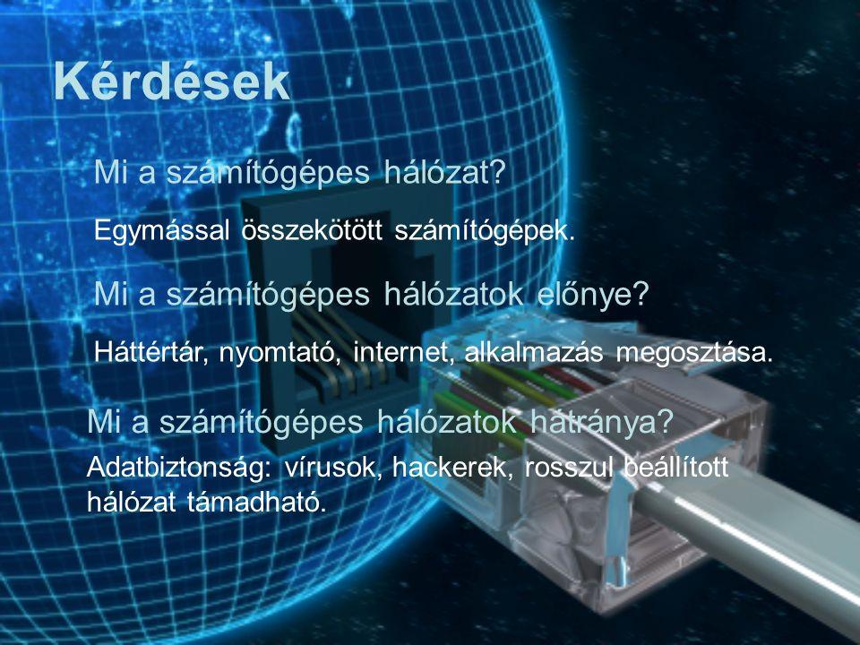 Adatbiztonság kérdése Vírusok Hackerek Rosszul beállított hálózat támadható 3. Hátrányok