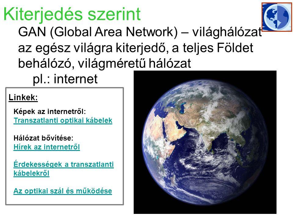 WAN (Wide Area Network Nagykiterjedésű hálózat): MAN-nál nagyobb  Országokat, földrészeket köt össze.