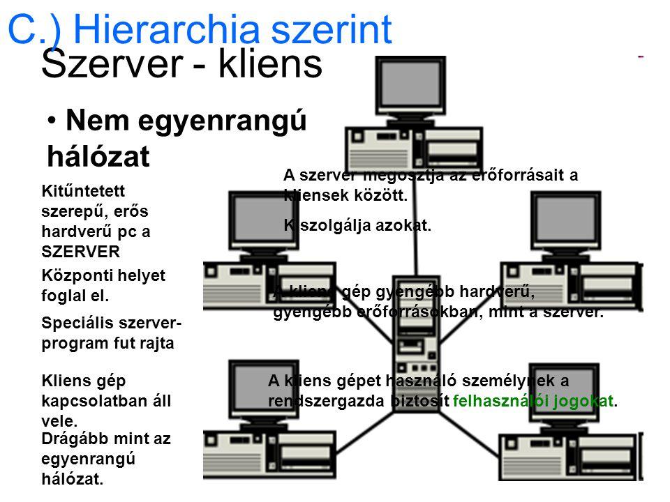 Szerver - kliens Nem egyenrangú hálózat C.) Hierarchia szerint Kitűntetett szerepű, erős hardverű pc a SZERVER Központi helyet foglal el.