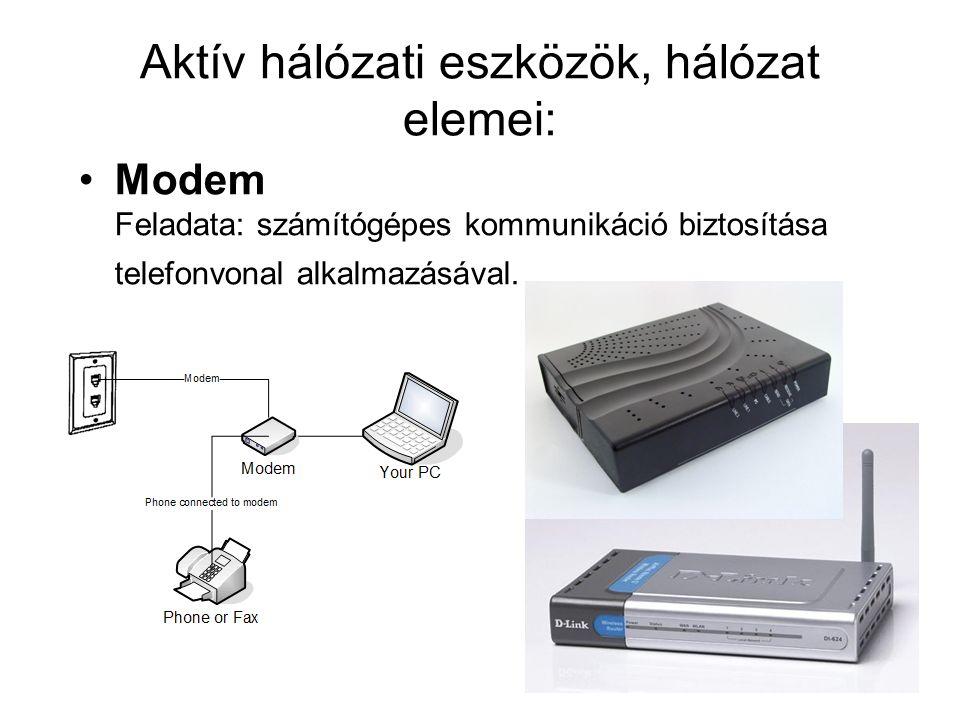 5. AKTÍV HÁLÓZATI ESZKÖZÖK, HÁLÓZAT ELEMEI Modem Switch Router