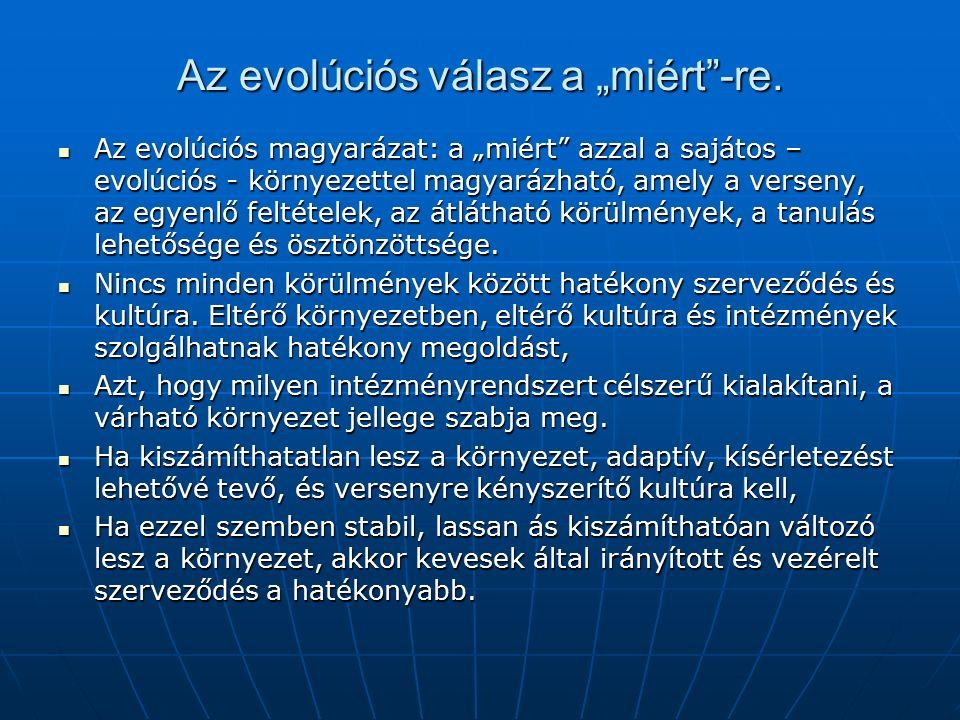 """Az evolúciós válasz a """"miért -re."""