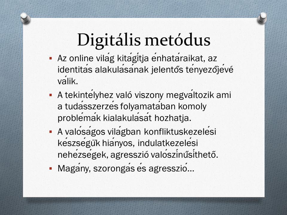 Digitális metódus  Az online vilag kitagitja enhataraikat, az identitas alakulasanak jelento ̋ s tenyezo ̋ jevé valik.  A tekintelyhez való viszony