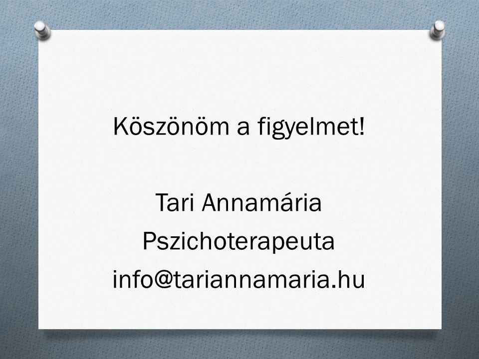 Köszönöm a figyelmet! Tari Annamária Pszichoterapeuta info@tariannamaria.hu