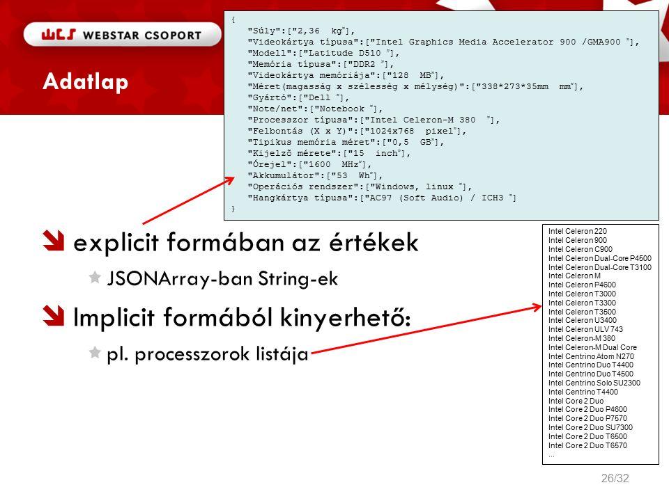 Adatlap  explicit formában az értékek JSONArray-ban String-ek  Implicit formából kinyerhető: pl.