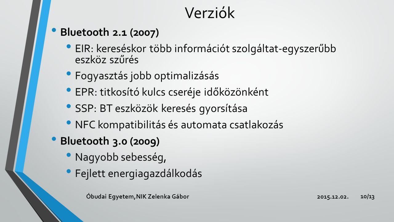 Verziók Bluetooth 2.1 (2007) EIR: kereséskor több információt szolgáltat-egyszerűbb eszköz szűrés Fogyasztás jobb optimalizásás EPR: titkosító kulcs cseréje időközönként SSP: BT eszközök keresés gyorsítása NFC kompatibilitás és automata csatlakozás Bluetooth 3.0 (2009) Nagyobb sebesség, Fejlett energiagazdálkodás 2015.12.02.Óbudai Egyetem,NIK Zelenka Gábor 10/13