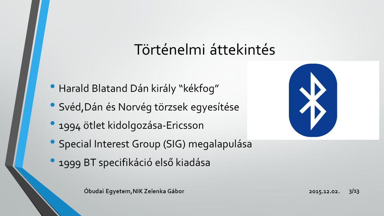 Történelmi áttekintés Harald Blatand Dán király kékfog Svéd,Dán és Norvég törzsek egyesítése 1994 ötlet kidolgozása-Ericsson Special Interest Group (SIG) megalapulása 1999 BT specifikáció első kiadása 2015.12.02.Óbudai Egyetem,NIK Zelenka Gábor 3/13