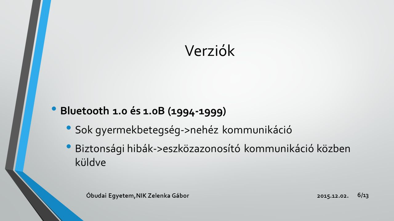 Verziók Bluetooth 1.0 és 1.0B (1994-1999) Sok gyermekbetegség->nehéz kommunikáció Biztonsági hibák->eszközazonosító kommunikáció közben küldve 2015.12.02.Óbudai Egyetem,NIK Zelenka Gábor 6/13