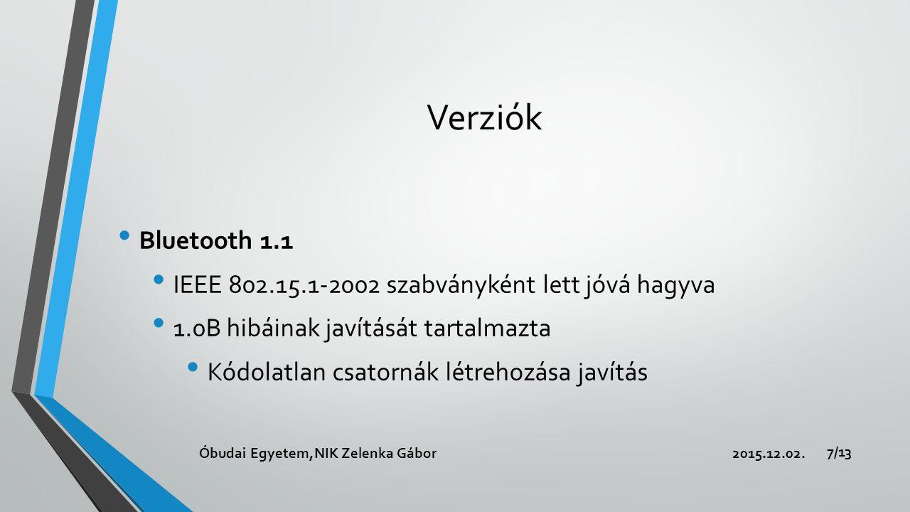 Verziók Bluetooth 1.2 Visszafele kompatibilis Gyorsabb kapcsolódás és eszköz keresés Adaptív frekvenciaugrás Megnövelt átviteli sebesség Javított hangminőség(újraküldés) 2015.12.02.Óbudai Egyetem,NIK Zelenka Gábor 8/13