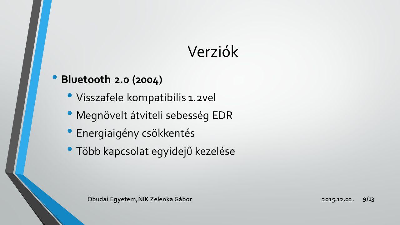 Verziók Bluetooth 2.0 (2004) Visszafele kompatibilis 1.2vel Megnövelt átviteli sebesség EDR Energiaigény csökkentés Több kapcsolat egyidejű kezelése 2015.12.02.Óbudai Egyetem,NIK Zelenka Gábor 9/13