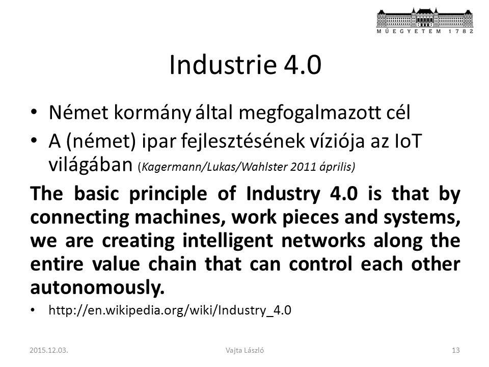 Industrie 4.0 Német kormány által megfogalmazott cél A (német) ipar fejlesztésének víziója az IoT világában (Kagermann/Lukas/Wahlster 2011 április) Th