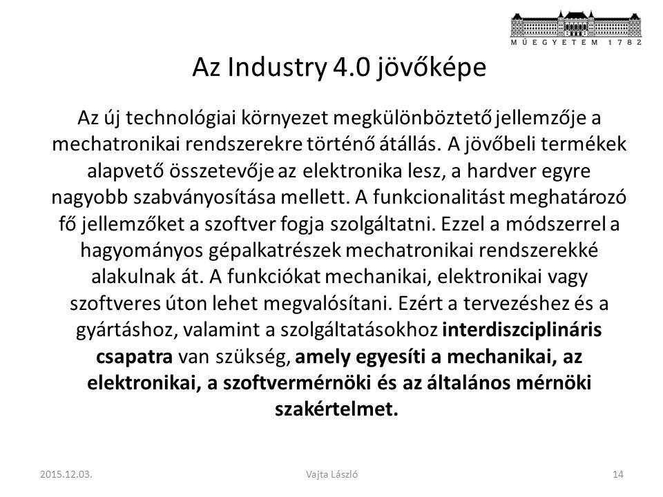 Az Industry 4.0 jövőképe Az új technológiai környezet megkülönböztető jellemzője a mechatronikai rendszerekre történő átállás.