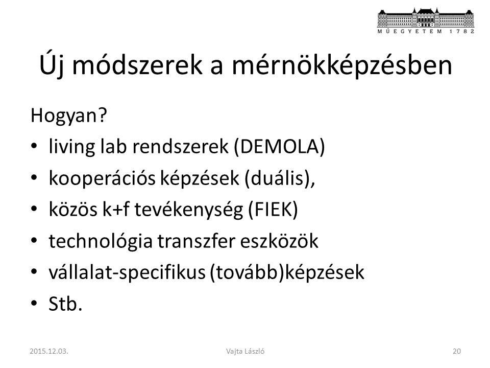 Új módszerek a mérnökképzésben Hogyan? living lab rendszerek (DEMOLA) kooperációs képzések (duális), közös k+f tevékenység (FIEK) technológia transzfe