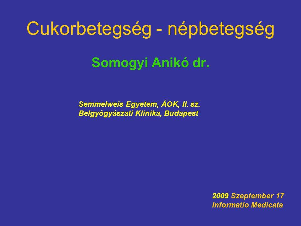 Cukorbetegség - népbetegség Somogyi Anikó dr. Semmelweis Egyetem, ÁOK, II.