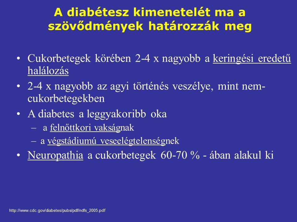 A diabétesz kimenetelét ma a szövődmények határozzák meg Cukorbetegek körében 2-4 x nagyobb a keringési eredetű halálozás 2-4 x nagyobb az agyi történés veszélye, mint nem- cukorbetegekben A diabetes a leggyakoribb oka – a felnőttkori vakságnak –a végstádiumú veseelégtelenségnek Neuropathia a cukorbetegek 60-70 % - ában alakul ki http://www.cdc.gov/diabetes/pubs/pdf/ndfs_2005.pdf