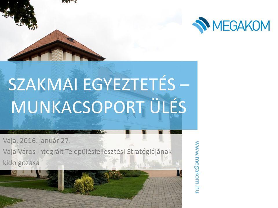 www.megakom.hu SZAKMAI EGYEZTETÉS – MUNKACSOPORT ÜLÉS Vaja, 2016. január 27. Vaja Város Integrált Településfejlesztési Stratégiájának kidolgozása