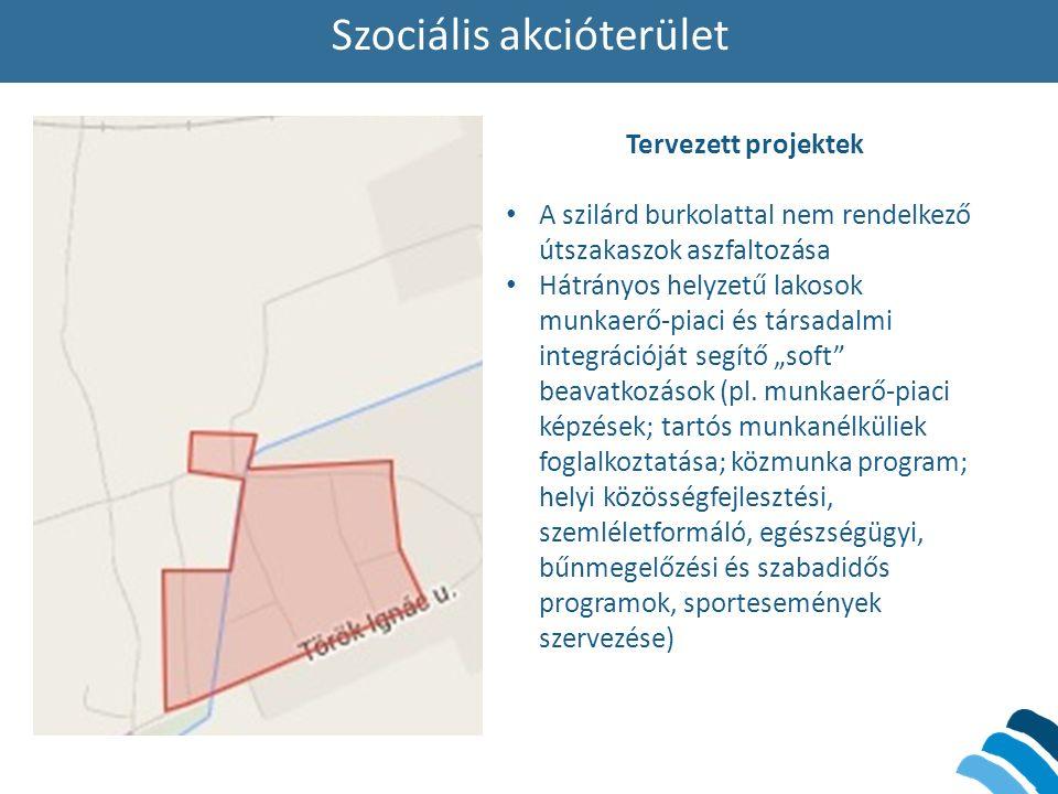 """Szociális akcióterület Tervezett projektek A szilárd burkolattal nem rendelkező útszakaszok aszfaltozása Hátrányos helyzetű lakosok munkaerő-piaci és társadalmi integrációját segítő """"soft beavatkozások (pl."""