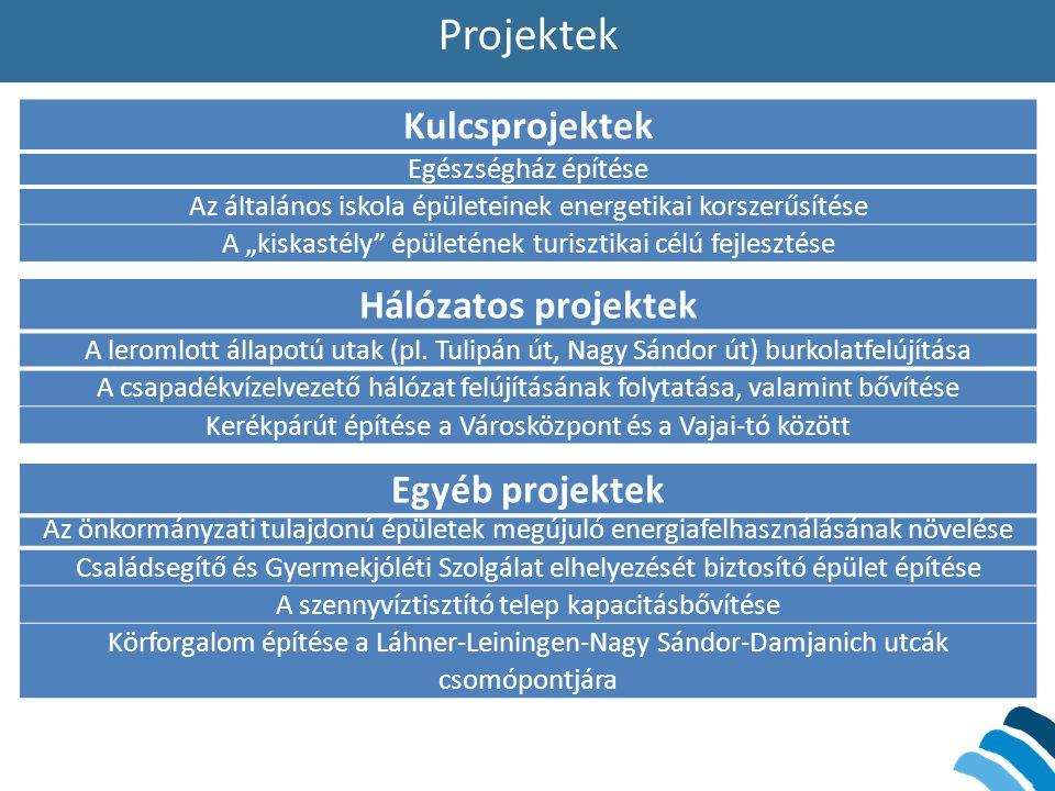 """Projektek Egészségház építése Az általános iskola épületeinek energetikai korszerűsítése A """"kiskastély épületének turisztikai célú fejlesztése A leromlott állapotú utak (pl."""