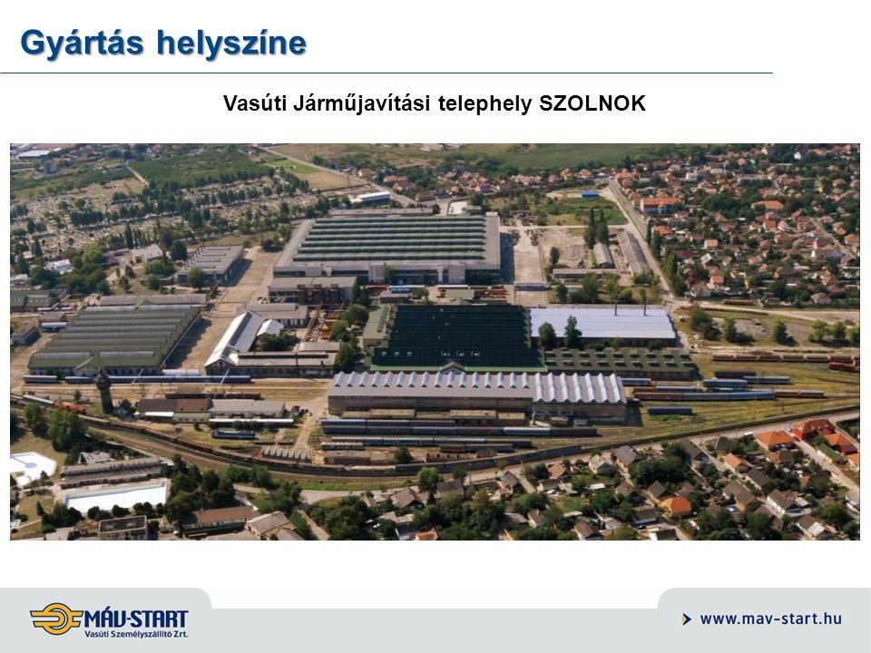 Gyártás helyszíne Vasúti Járműjavítási telephely SZOLNOK