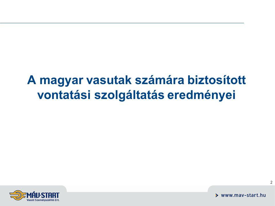 2 A magyar vasutak számára biztosított vontatási szolgáltatás eredményei