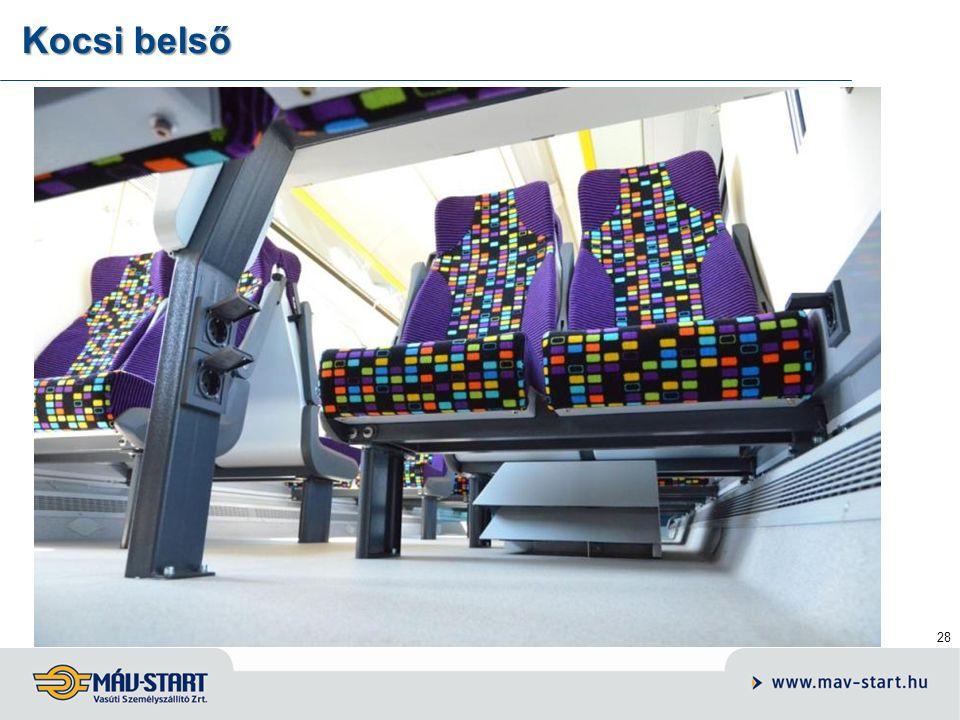 29 Kocsik szolgáltatásai – belső tér korszerű, műanyag nagy- paneles utastér, energiaellátási hálózat laptop számítógépek használatához belső videó felügyeleti rendszer alkalmazása fejlett szolgáltatású, GPS- vezérelt belső-külső audió- vizuális utastájékoztató rendszer, belső videó felügyeleti rendszer alkalmazása.
